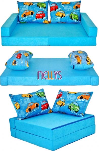 Rozkladací dětská pohovka 3 v 1 - P01 - Auta v modré