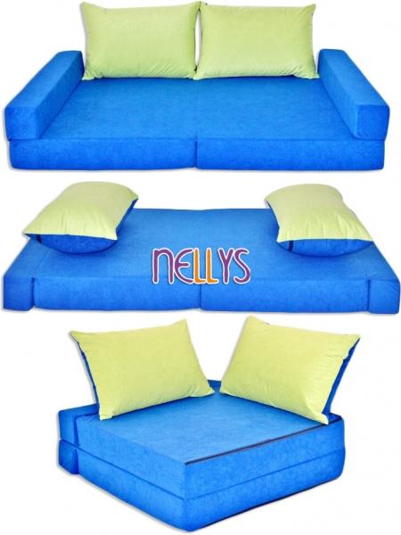 Rozkladací dětská pohovka 3 v 1 - P10 - Modrá/zelená