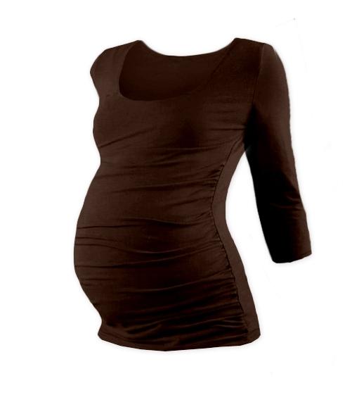 Těhotenské triko 3/4 rukáv Johanka - čokoládová, vel. L/XL