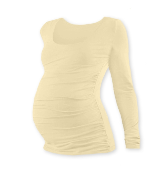 Těhotenské triko Johanka s dlouhým rukávem - caffe latte, XXL/XXXL
