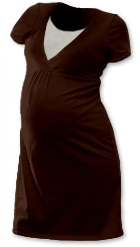 Těhotenská, kojící noční košile JOHANKA krátký rukáv - čokohnědá