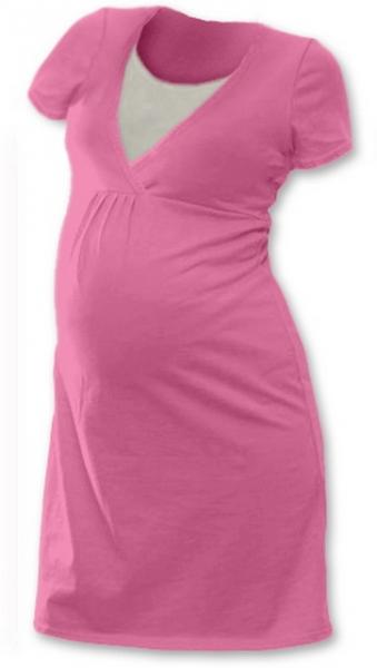 JOŽÁNEK Těhotenská, kojící noční košile JOHANKA krátký rukáv - růžová