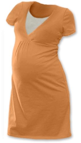 Těhotenská, kojící noční košile JOHANKA krátký rukáv - sv. oranžová