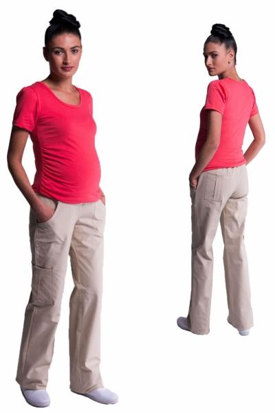 Be MaaMaa Těhotenské kalhoty s boční kapsou - tm. béžová, vel. M
