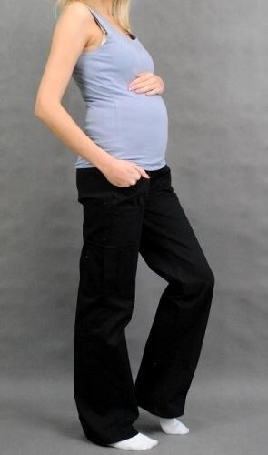 Těhotenské kalhoty s boční kapsou - černá, vel. L