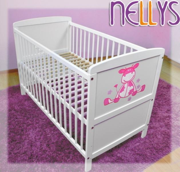 Dřevěná postýlka Nellys bílá, kravička růžová - 120x60