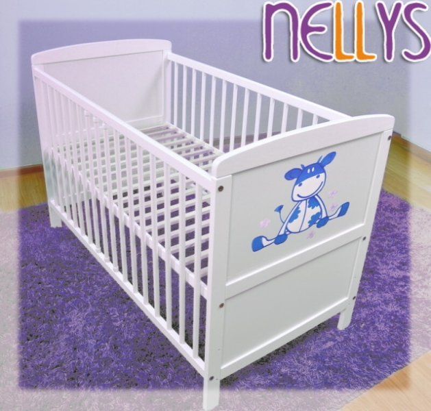 Dřevěná postýlka Nellys bílá - kravička modrá, 120x60