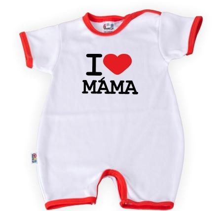 Baby Dejna Body kr. rukáv s nohavičkama I Love Máma, vel. 74, K19