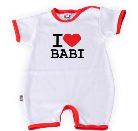 Baby Dejna Body kr. rukáv s nohavičkami  I Love Babi, vel. 74, K19