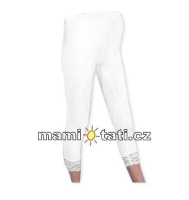 Be MaaMaa Těhotenské legíny 3/4 zakončené krajkou - bílá, vel. XL, K19