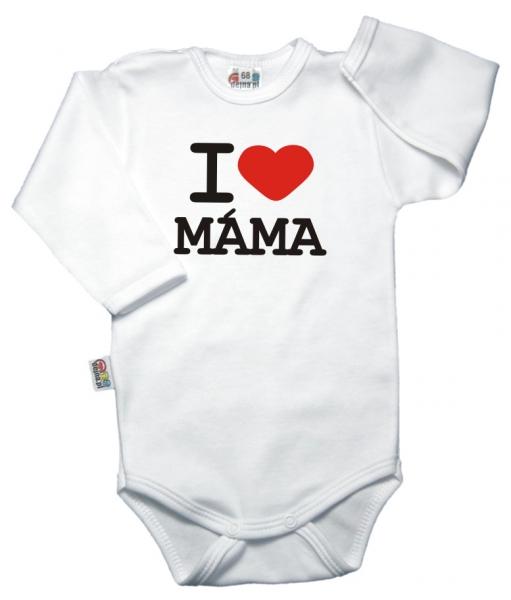 Baby Dejna Body dlouhý rukáv, vel. 68, I love máma - bílé