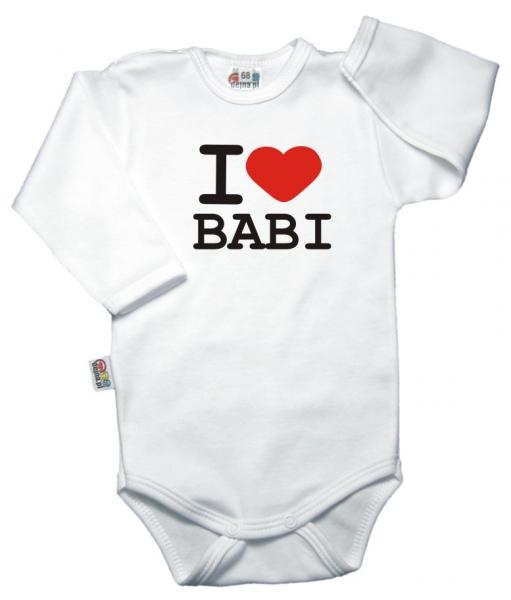 Baby Dejna Body dlouhý rukáv, vel. 68, I love babi - bílé, K19