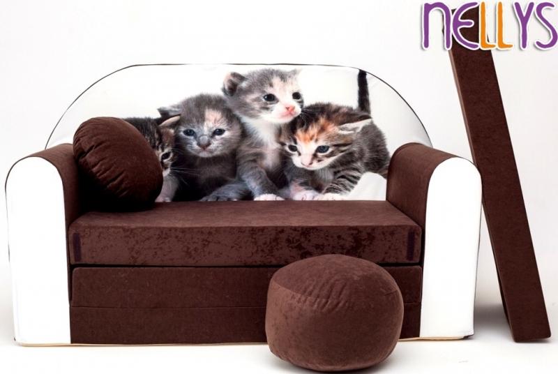 NELLYS Rozkládací dětská pohovka 32R - Kočičky v hnědé