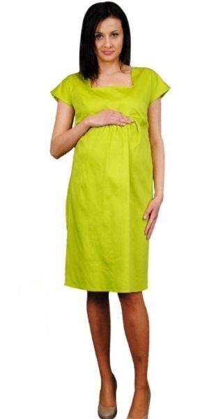 Be MaaMaa Těhotenské šaty ELA - limetka