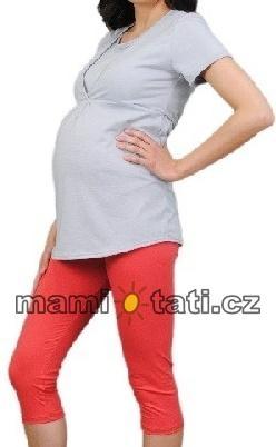 Be MaaMaa Těhotenské barevné legíny 3/4 délky - korálová, vel. XXL, K19