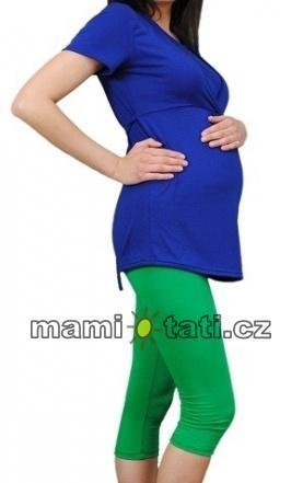 Těhotenské barevné legíny 3/4 délky - zelená, Velikost: M