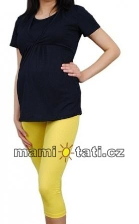 Těhotenské barevné legíny 3/4 délky - žlutá