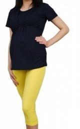 Be MaaMaa Těhotenské barevné legíny 3/4 délky - žlutá, vel. XXL, K19