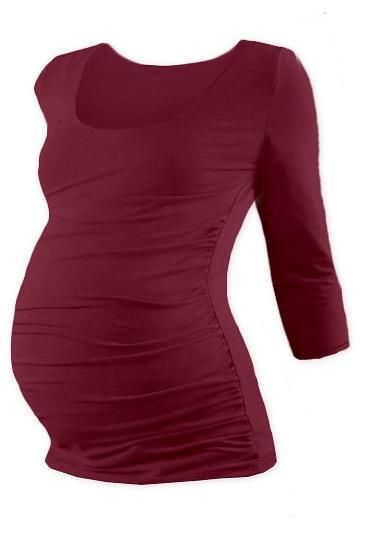 Těhotenské triko 3/4 rukáv Johanka - bordo, L/XL