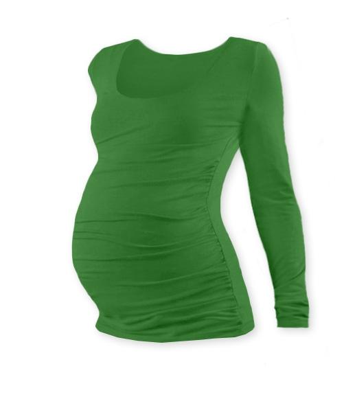 JOŽÁNEK Těhotenské triko Johanka s dlouhým rukávem - tmavě zelená,  L/XL