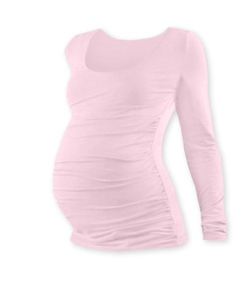 Těhotenské triko JOHANKA s dlouhým rukávem - sv. růžová