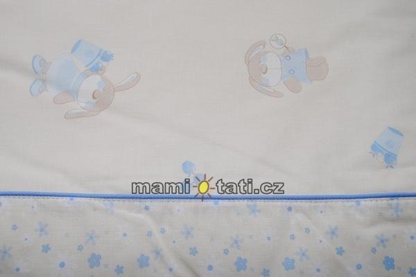Mantinel + povlečení + peřinky Zajíčci v modrém