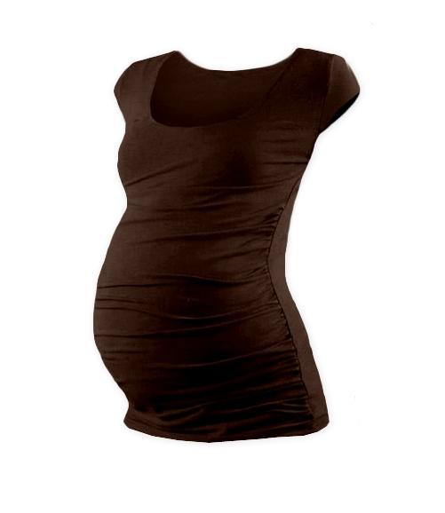 JOŽÁNEK Těhotenské triko mini rukáv JOHANKA - čokohnědá