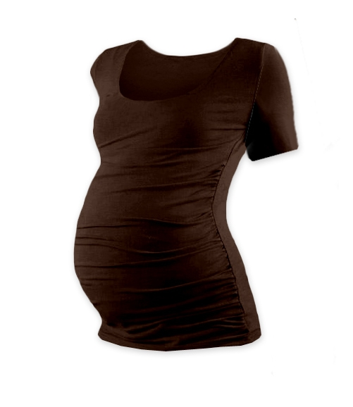 Těhotenské triko krátký rukáv JOHANKA - čokohnědá