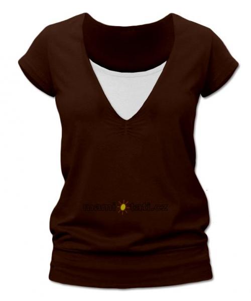 Kojící,těhotenské triko JULIE - Čokohnědá