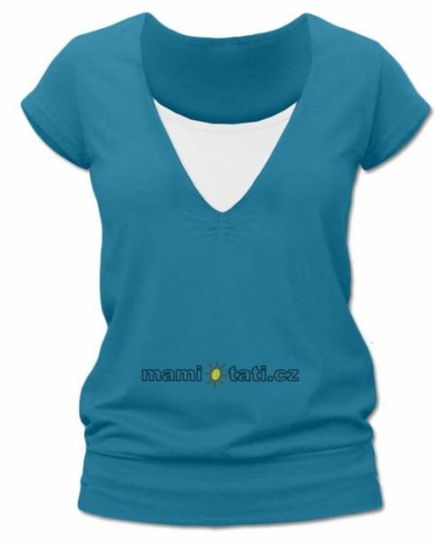 Kojící,těhotenské triko JULIE - petrolejová