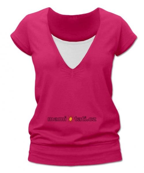 Kojící,těhotenské triko JULIE - sytě růžová