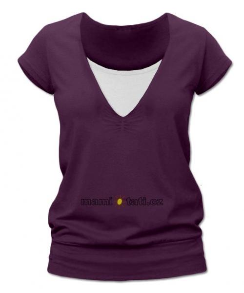 Kojící,těhotenské triko JULIE - švestková
