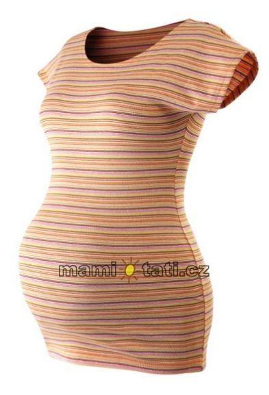 JOŽÁNEK Těhotenské triko krátký rukáv PROUŽEK - oranžová