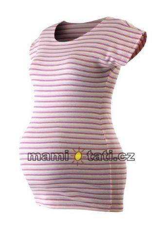 Těhotenské triko krátký rukáv PROUŽEKK - růžová-bílá