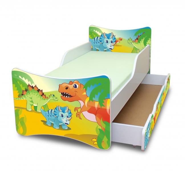 NELLYS Dětská postel se zábranou a šuplík/y Dino