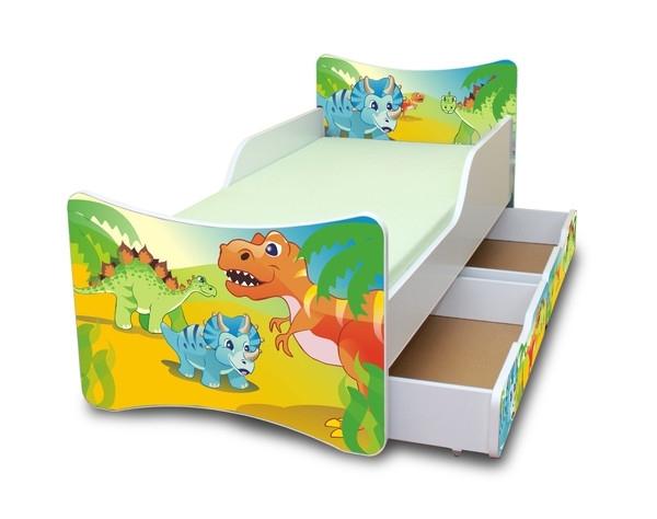 NELLYS Dětská postel se zábranou a šuplík/y Dino- 200x90 cm