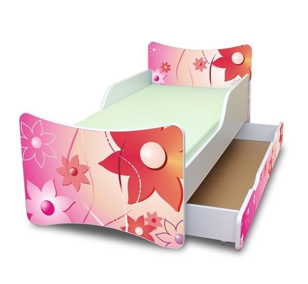 NELLYS Dětská postel se zábranou a šuplík/y Kytičky- 160x90 cm