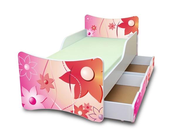 NELLYS Dětská postel se zábranou a šuplík/y Kytičky - 180x90 cm