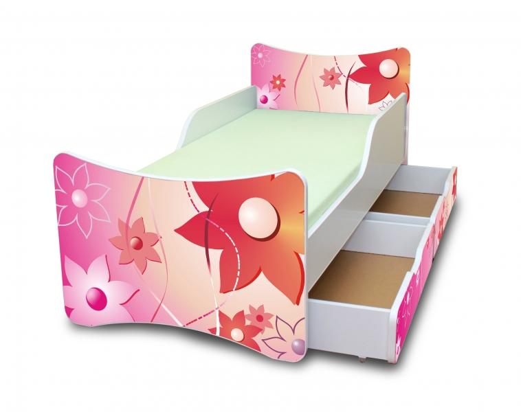NELLYS Dětská postel se zábranou a šuplík/y Kytičky - 200x90 cm