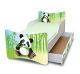 NELLYS Dětská postel se zábranou a šuplík/y Panda - 160x90 cm