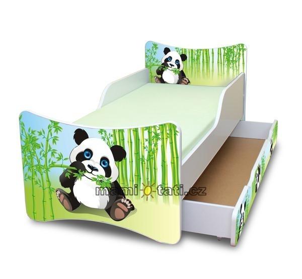 NELLYS Dětská postel se zábranou a šuplík/y Panda - 200x90 cm