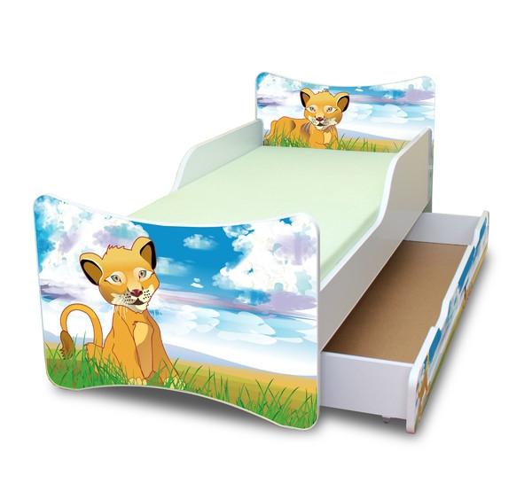 NELLYS Dětská postel se zábranou a šuplík/y Lvíček