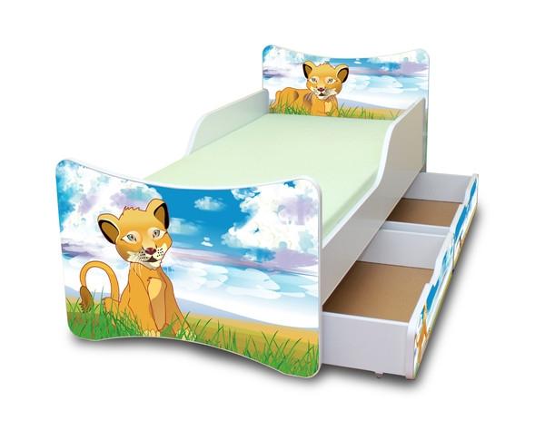 NELLYS Dětská postel se zábranou a šuplík/y Lvíček - 200x80 cm