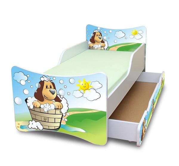 NELLYS Dětská postel se zábranou a šuplík/y Hafík - 160x80 cm