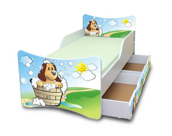 NELLYS Dětská postel se zábranou a šuplík/y Hafík - 180x80 cm