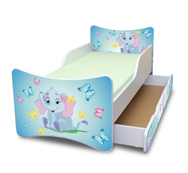NELLYS Dětská postel se zábranou a šuplík/y Sloník - 160x90 cm