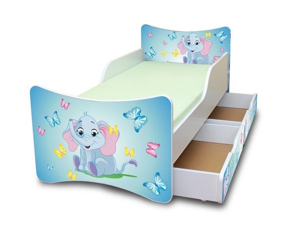 NELLYS Dětská postel se zábranou a šuplík/y Sloník - 180x90 cm