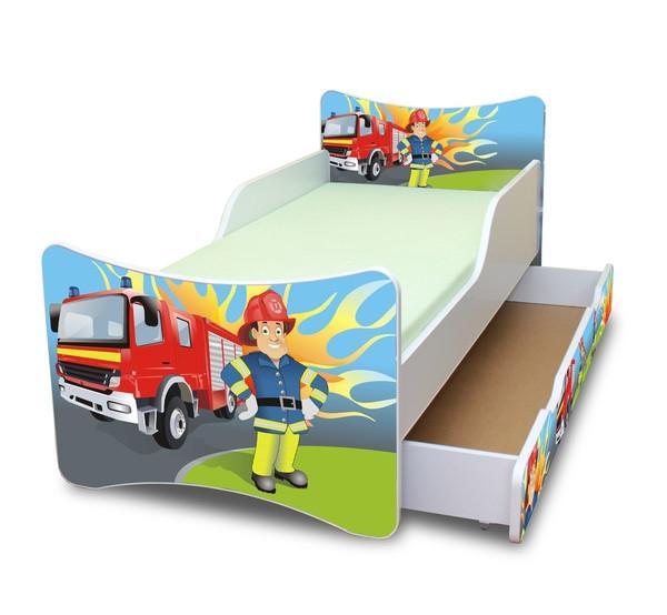 NELLYS Dětská postel se zábranou a šuplík/y Hasič- 160x80 cm