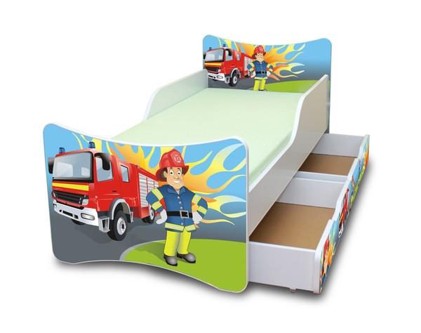 NELLYS Dětská postel se zábranou a šuplík/y Hasič - 180x80 cm