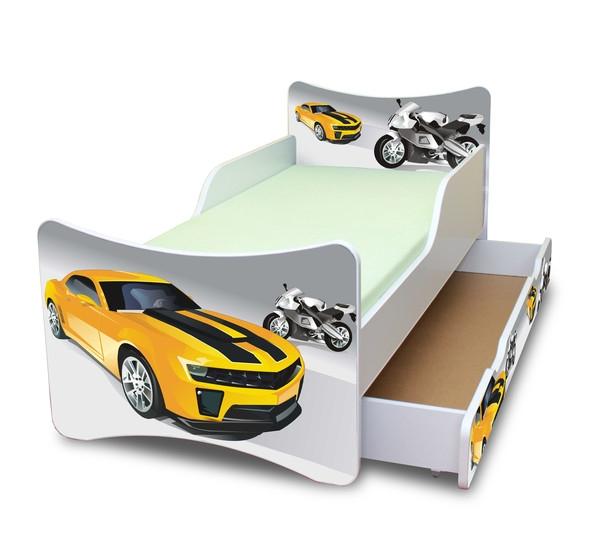 NELLYS Dětská postel se zábranou a šuplík/y Závodník